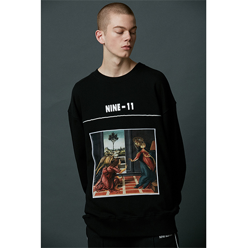 "[Nine Eleven]""Masterpiece"" Crewneck -Black"