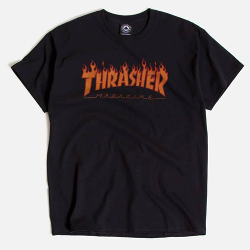 [Thrasher] FLAME HALFTONE S/S T-Shirts - Black