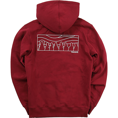 [NOT4NERD]Distorted Sky Line Pullover Hood  - Red