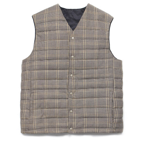 [LAFUDGESTORE] Wool Check Compact Down Vest