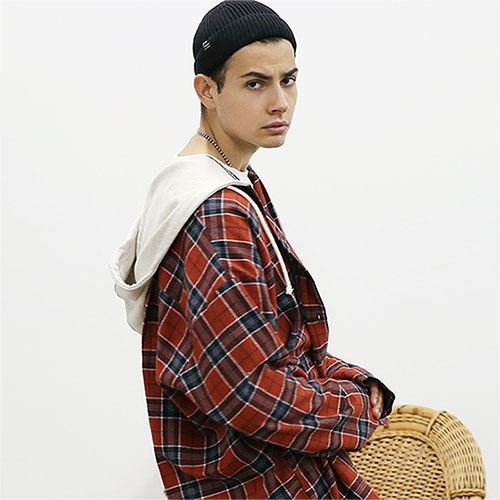 [TENBLADE] [Project 36.5]Semi Over Fit Tartan Check Hood Shirt_Orange