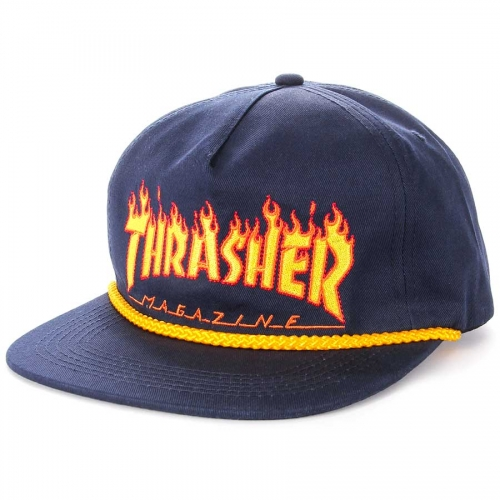 [Thrasher] FLAME ROPE Snapback - Navy
