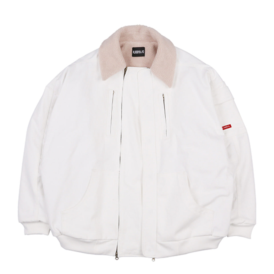 [AJOBYAJO] Denim Bomber Jacket  [White]