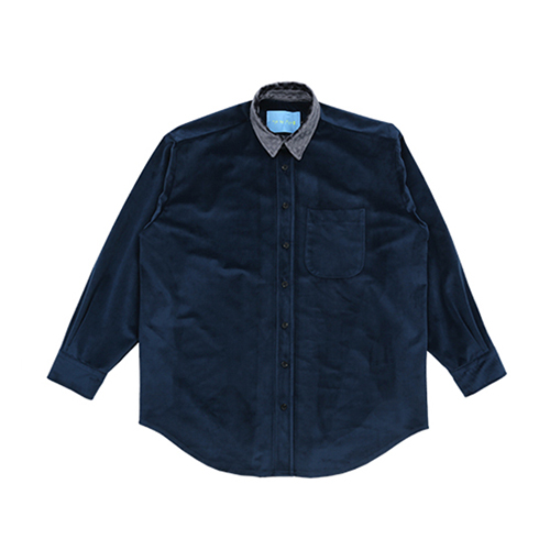 [AJOBYAJO FINK LABEL] Velvet Shirt [Navy]