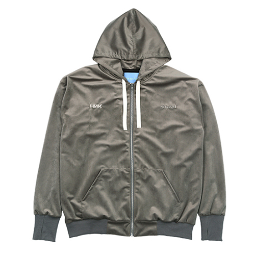 [AJOBYAJO FINK LABEL] Velvet Hood Zip Up [Warm Grey]