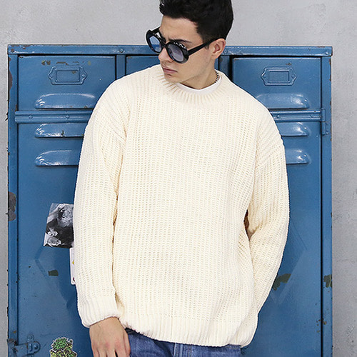 [TENBLADE] [Project 36.5]Over Fit Drop Shoulder Heavy Knit_Cream