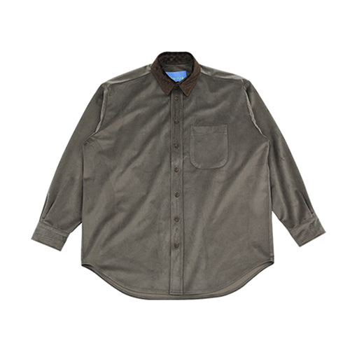 [AJOBYAJO FINK LABEL] Velvet Shirt [Warm Grey]