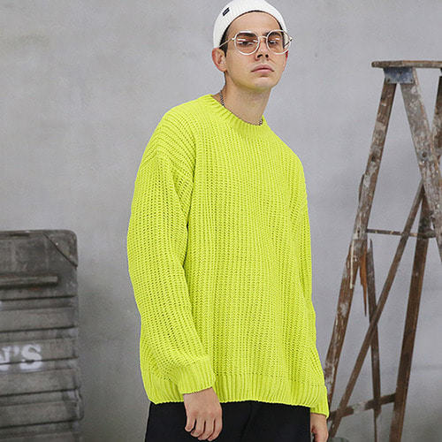 [TENBLADE] [Project 36.5]Over Fit Drop Shoulder Heavy Knit_Neon