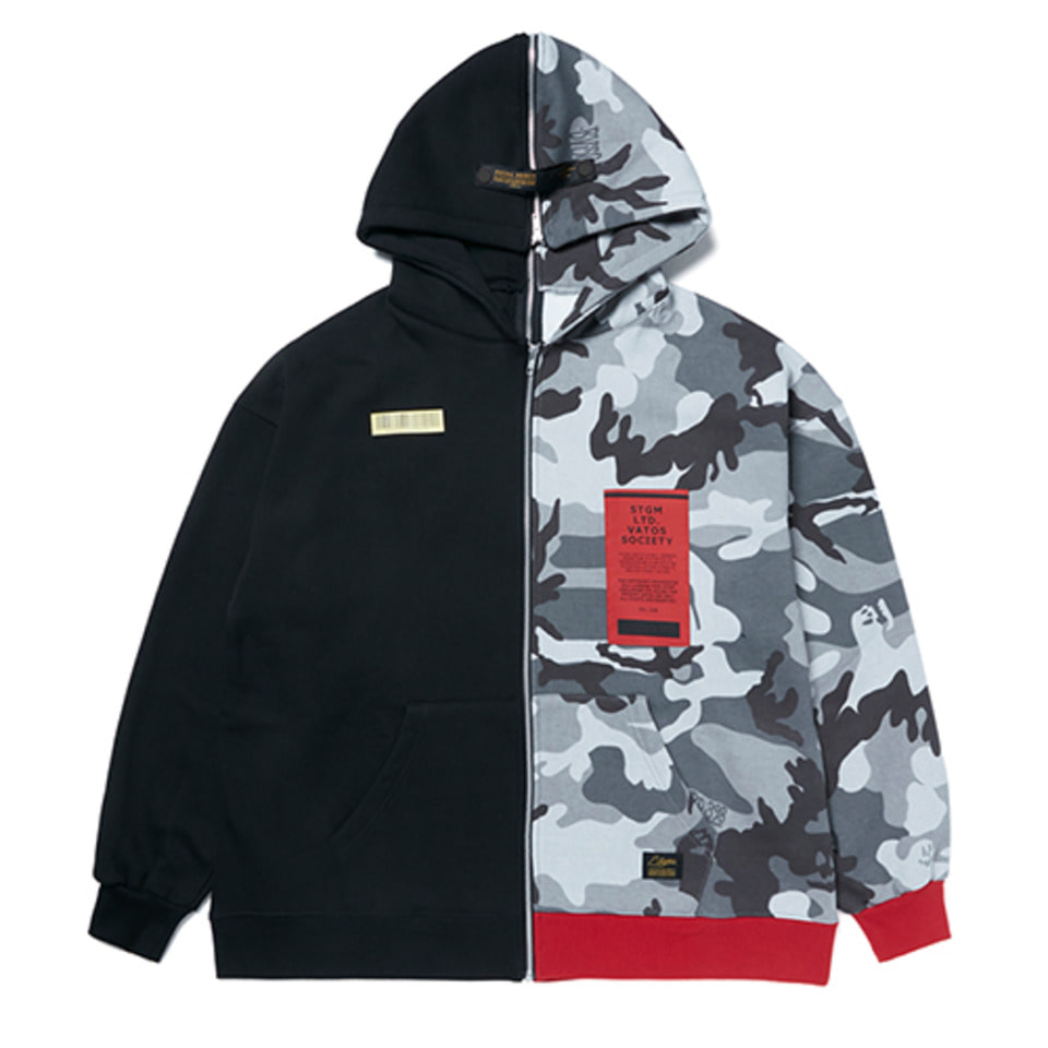 [STIGMA]SPLIT OVERSIZED HEAVY SWEAT ZIPUP HOODIE - GREY CAMOUFLAGE