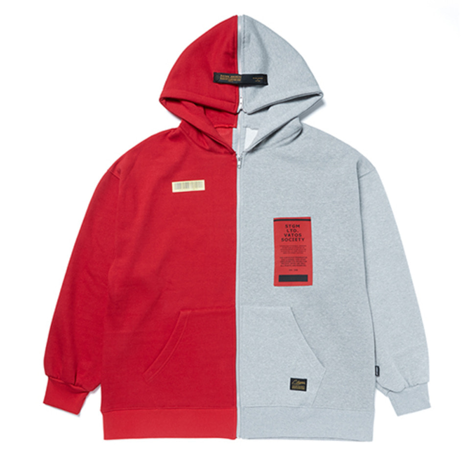[STIGMA]SPLIT OVERSIZED HEAVY SWEAT ZIPUP HOODIE - RED