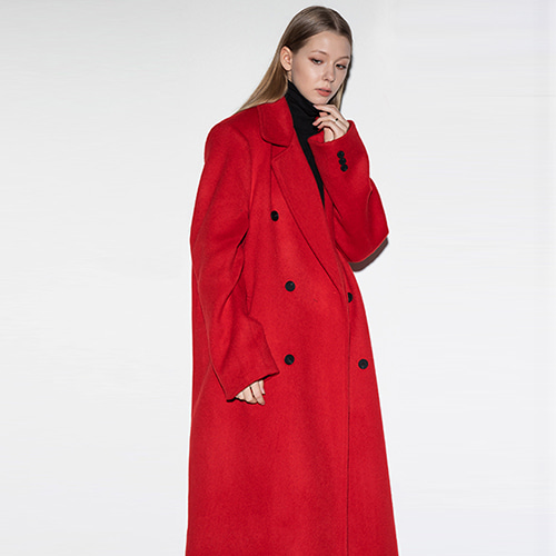 [FLAREUP] over double long coat RE (FL-009) - Red