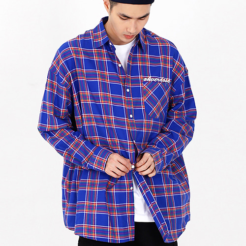 [OHVERDOSE]OVER-FIT LOGO CHECK SHIRTS BLUE