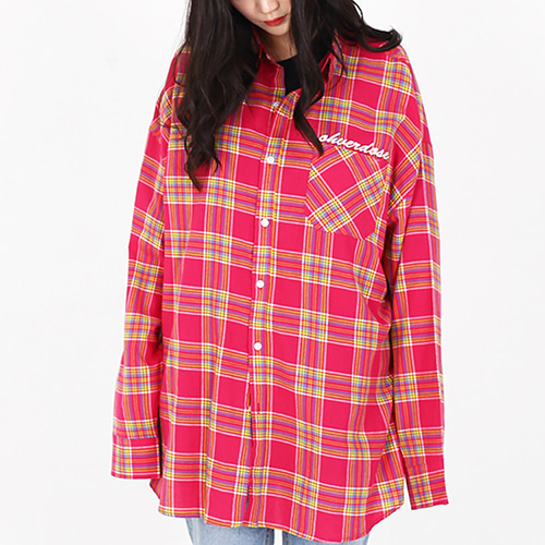 [OHVERDOSE]OVER-FIT LOGO CHECK SHIRTS PINK