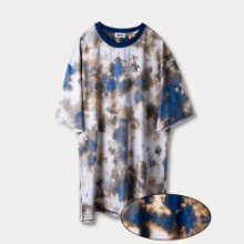 [OBJECT] TIE DYE REVERSIBLE OVERSIZED T-SHIRT - BLUE