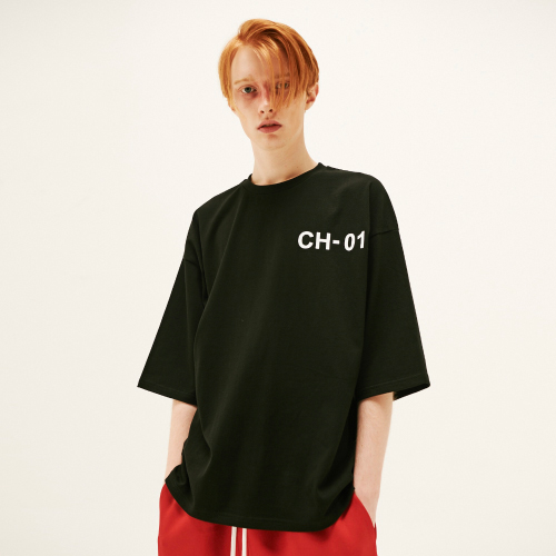 [SLEAZY CORNER] CH01 OVER HALF T SHIRT-BLACK
