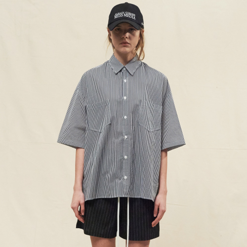 [20%할인][SLEAZY CORNER] HALF SHIRT-STRIPE WHITE