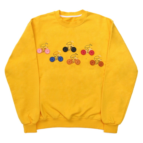 [EASY BUSY] Button Detail Sweatshirts - Yellow