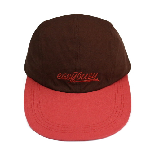 [EASY BUSY] Simple Logo Long Bill Cap - Pink&Brown