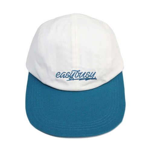 [EASY BUSY] Simple Logo Long Bill Cap - Blue&White