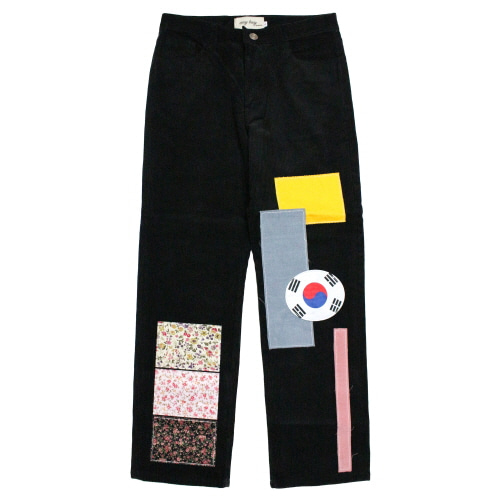 [EASY BUSY] Flag Patchwork Pants - Black