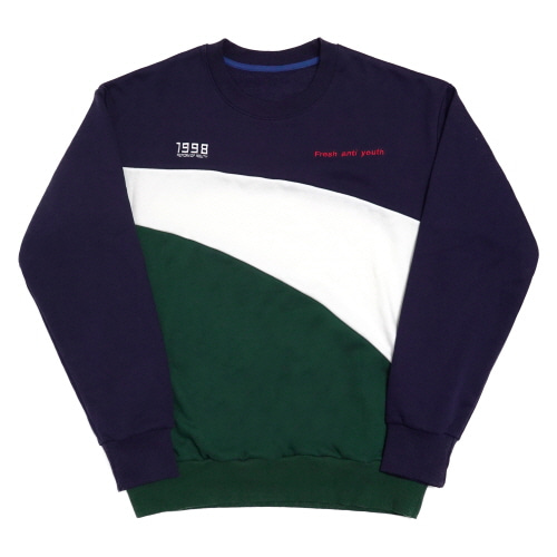 [Fresh anti youth] Wave-Crewneck Sweater - Navy