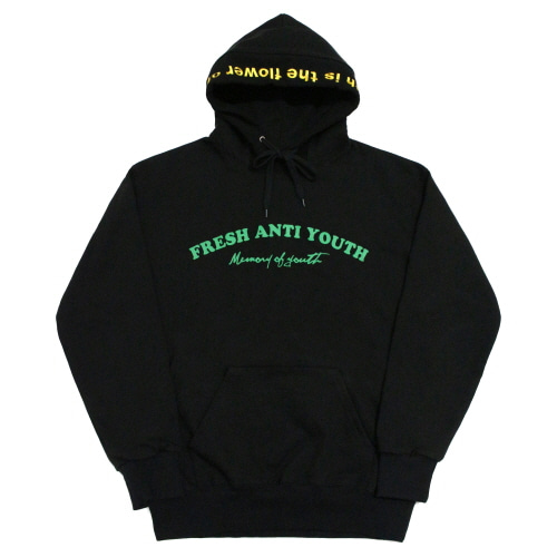 [Fresh anti youth] M.O.Y Hood Sweater - Black/Green
