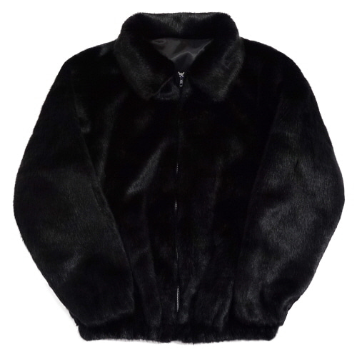 [Fresh anti youth] Logo Fur Jacket - Black