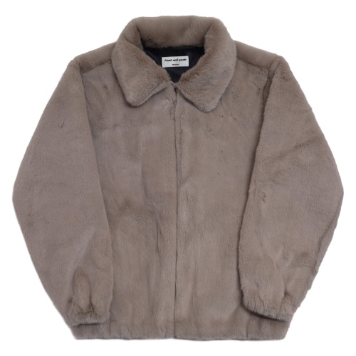 [Fresh anti youth] Logo Fur Jacket - Beige