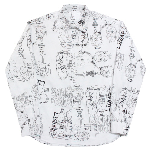 [17FW] Doodle Pattern Shirt - White