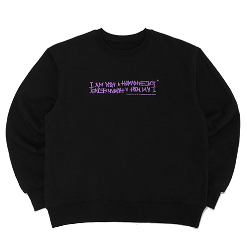[18FW] AUTOGRAPH LOGO CREWNECK SWEATSHIRTS - BLACK/PURPLE