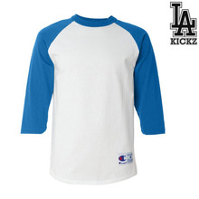 Raglan baseball t shirts  100% cotton  5.3 oz White/Blue