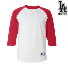 Raglan baseball t shirts  100% cotton  5.4 oz White/Red