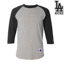 Raglan baseball t shirts  100% cotton  5.5 oz Grey/Black